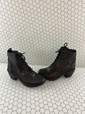 FLY London Black Leather Lace Up/Side Zip Ankle Boots Women's Size 38