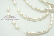 110pcs 4mm Cream/Ivory Color Rectangle Tube Imitation Acrylic Loose Pearl Beads