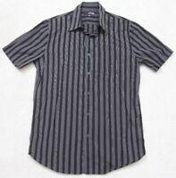 Murano Black White Fitted Pocket Dress Shirt Size Medium Mens Man Cotton Striped