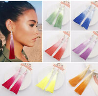 Women Fashion Bohemian Long Tassel Earrings Fringe Boho Hook Drop Dangle Jewelry
