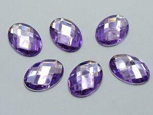 100 Purple Flatback Acrylic Rhinestone Oval Gems 13X18mm No Hole