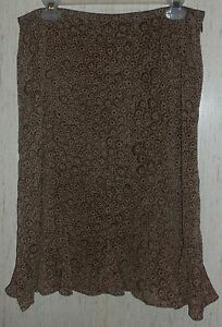 EXCELLENT WOMENS Villager BROWN & BEIGE FLORAL LINED SKIRT  SIZE 10