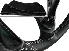 Couvre volant pour FORD FIESTA MK6 MK7 cuir noir véritable coutures blanches