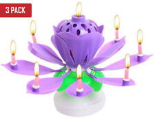 Rotating Purple Lotus Birthday Flower Musical Cake Candles with Music Magic 3pcs