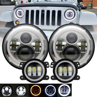 "For Jeep Wrangler JK 07-17 7"" Halo Headlights Hi/Lo+ 4"" LED Halo Fog Light 6000K"