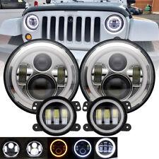 "For Jeep Wrangler JK 07-17 7"" Halo Headlights Hi/Lo+ 4"" LED Halo Fog Light 6000K"