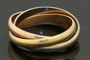 Cartier Trinity 18K tricolor Rose/Yellow/White gold rolling band ring size 51