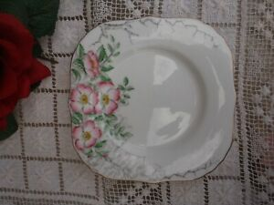 """HAMMERSLEY MADE IN ENGLAND SQUARE BREAD & BUTTER PLATE""""ROSE OF ENGLAND""""BONE CHIN"""