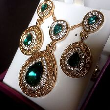 SET Green & White Austrian Crystal 18ct Gold Plated Necklace & Earrings Plum UK