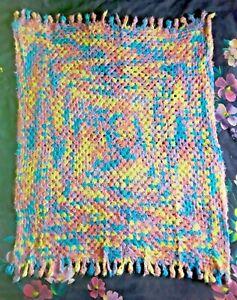 Hand-made Crochet Throw - Baby Cot Quilt - Velvet Chunky - Very Soft