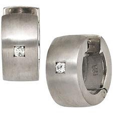 NEU Ø 14 mm Unisex Diamanten Creolen 925er 925 echt Silber Ohrringe 6,7 mm breit