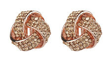 CLIP ON EARRINGS - rose gold knot earring with rhinestone crystals - Honey RG