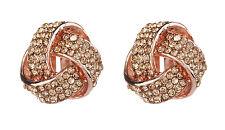 Pendientes de clip-Oro Rosa Nudo Pendientes con Diamantes de Imitación Cristales-Honey RG