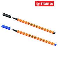 STABILO Fineliner Point 88  Ballpoint Pens for school 1 Blue & 1 Black Pack of 2
