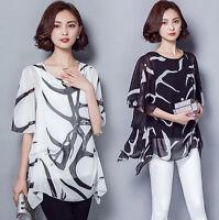 Women Summer Casual Chiffon Tee Vest T Shirt Blouse Loose Tops Plus Size