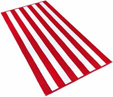 Kaufman - 32in x 62in Velour Cabana Stripe Towels (Red/White)