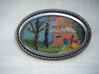 Vintage embroidery house and garden silver tone frame brooch pin C1950s