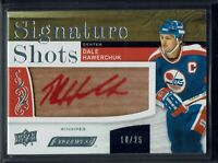 2018-19 UD Engrained Signature Shots Red Ink AUTO #SS-DH Dale Hawerchuk /25  SSP