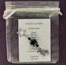 RAVEN TOTEM CHARM Amulet Talisman Crow Bird Magick Symbolism Card Pagan Wiccan