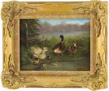 More details for ducks by a pond antique oil painting by wilhelm oertel (german, 1870–1933)