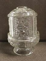 "Vintage Indiana Clear GLass Stars and Bars Fairy Lamp 6-1/2"" Tall"