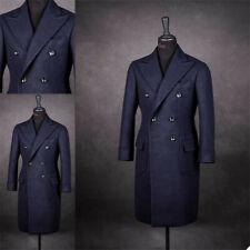 Navy Wool Overcoat Men Suits Double Breasted Tuxedos Peak Lapel Formal Long Coat