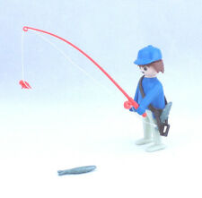 Playmobil Fisherman Figure 1974 Geobra Blue Hat Fishing Pole Fish