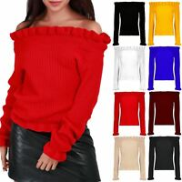 Womens Ladies Chunky Knitted Peplum Ruffle Frill Round Neck Off Shoulder Jumper