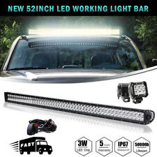 52inch 300W Led Light Bar Combo Beam Driving 4WD+2x 4'' Offroad Pods Free Wiring