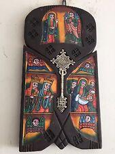 Hand Painted Ethiopian Wooden Icon Coptic Cross Ethiopia Wall Decoration