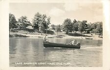 Motorboating in Front of Lake Andrusia Lodge, Cass Lake MN RPPC 1958
