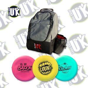 Disc Golf UK Starter Set 3 Discs Frisbees with DGUK Chariot Bag Frisbee Golf