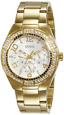 GUESS Women's Gold-Tone White Dial Stainless Steel Watch W0729L2