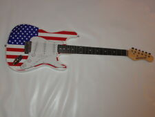 STEVIE WONDER SIGNED USA FLAG ELECTRIC GUITAR PROOF JSA LOA ASSISTED