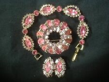 WEISS BRACELET BROOCH EARRINGS VINTAGE PINK