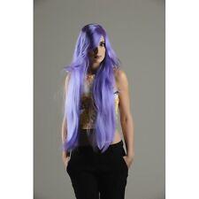 Perruque manga longue violette raie de côté la frange sur le côté Manga costume