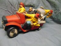 "1986 Universal Statuary Firemen on fire engine wall hanger #558 15"" x 8"" USA dog"