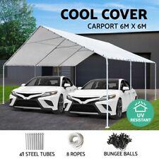 Carports 6x6m Carport Shelter Gazebo Steel Canopy Tent Portable Garden Shed WH