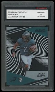 JALEN HURTS 2020 PANINI CLEAR VISION #CV-22 1ST GRADED 10 ROOKIE CARD RC EAGLES