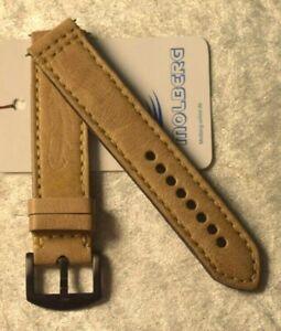 "0 7/8in Watchband Handmade Leather Wrist Band "" Molberg "" New! Cream Vintage"