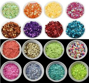 88 COLOURS - 6mm Cup Round Loose Sequins Cupped Sewing Pack of 300 BU1343