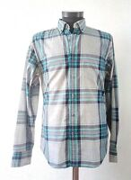 J. Crew Mens Casual Shirt Plaid Grey Teal Blue 2 Ply Cotton Size S Oxford Collar