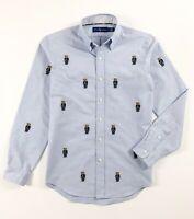Ralph Lauren Shirt Men's Oxford Light Blue Allover Polo Bear Embroidery RRP £125