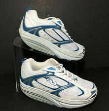 FILA Fit Women's Sport Walk N Sculpt Toning Rocker Shoes White Blue Silver Sz 7M