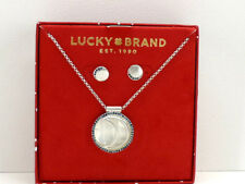 Lucky Brand Silvertone Pave Crystal Necklace and Earrings Set Studs New in Box!