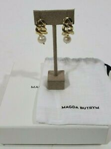 MAGDA BUTRYM Gold Chain Pearl Drop Earrings