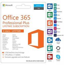 Microsoft Office 365 Professional plus|5 user|5 TB Storage|Lifetime Subscription