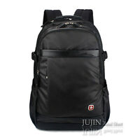 """15.6"""" Waterproof Laptop PC Backpack Swiss Gear Leather Travel Macbook Bag Brown"""