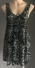 Pre-owned Maternity BUB2B Black/Grey/White Geo Print Sleeveless Top Size 14