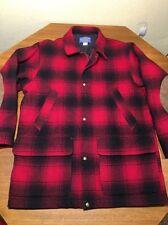 PENDLETON WOOL BUFFALO  SHADOW PLAID  JACKET COAT RED BLACK MACKINAW MENS S SMAL